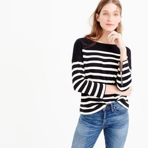 J.Crew Women's Black Striped Ponte Sweatshirt S